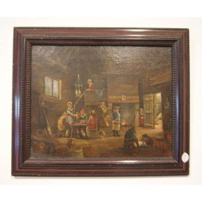 Oil On Canvas From 1800 Representing An Inn
