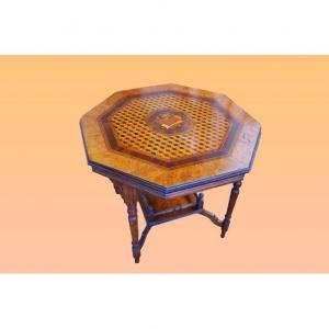 1800s Victorian Inlaid Octagonal Small Table