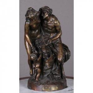 Statue Signée Clodion (1738-1814) Scène De Passion Furieuse Entre l'Amour Et Le Faune