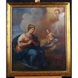 Italian Oil On Canvas From 1700 Representative Adoration Virgin With Jesus