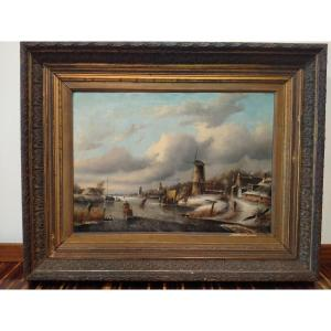 Oil On Canvas Landscape With Frozen River From 1800 Northern Europe