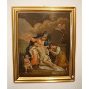 Oil On French Canvas Late 1700s Madonna With Christ