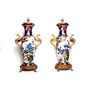 Paire De Vases En Porcelaine De Limoges Français Du Début Des Années 1900 Avec Bronze