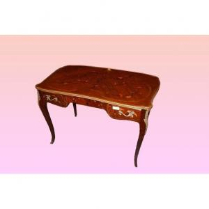 Beautiful Louis XV Desk From The 1800s Richly Inlaid