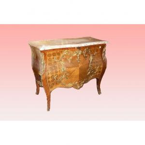 Spectacular Louis XV Commode From The 1800s Inlaid And With Bronzes