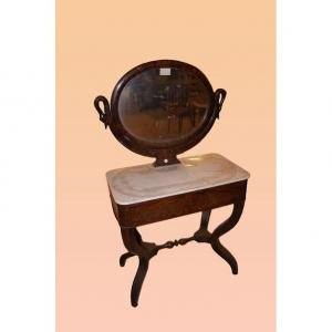 French Dressing Table With Empire Style Marble Top From The 1800s