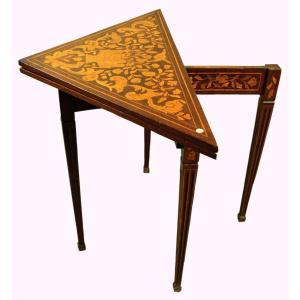Dutch 1800s Mahogany Inlaid Triangular Game Table