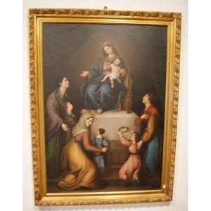 Italian Oil Painting On Canvas From 1700 Virgin Mary In Adoration With Women