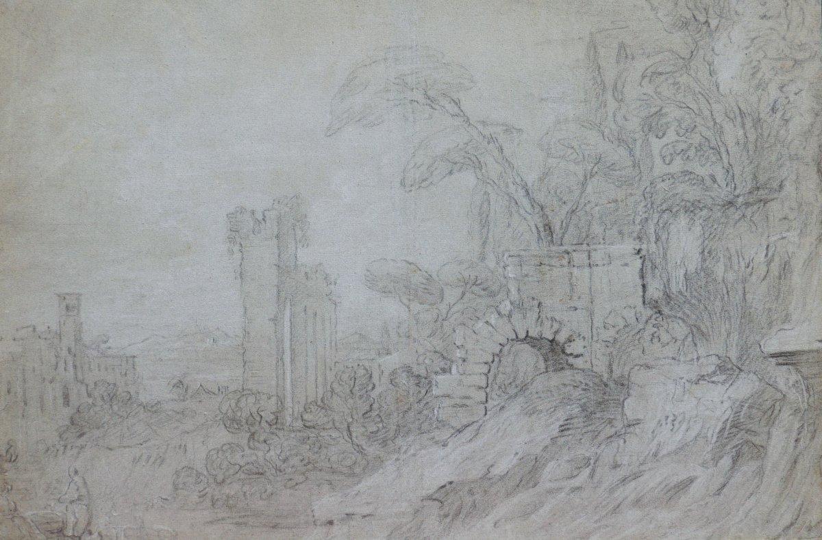 École FRANÇAISE du XVIIIème siècle, Ruines et personnages dans un paysage italien