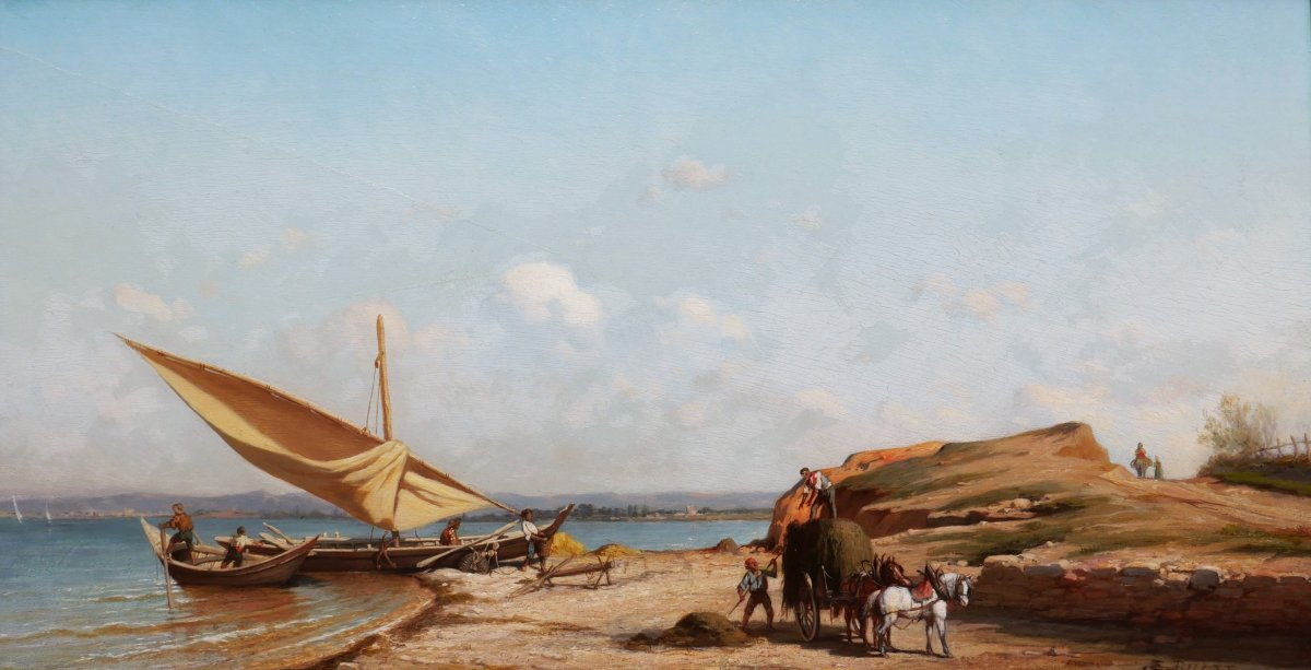 Étienne Billet, Busy Landscape By The Sea Near Marseilles