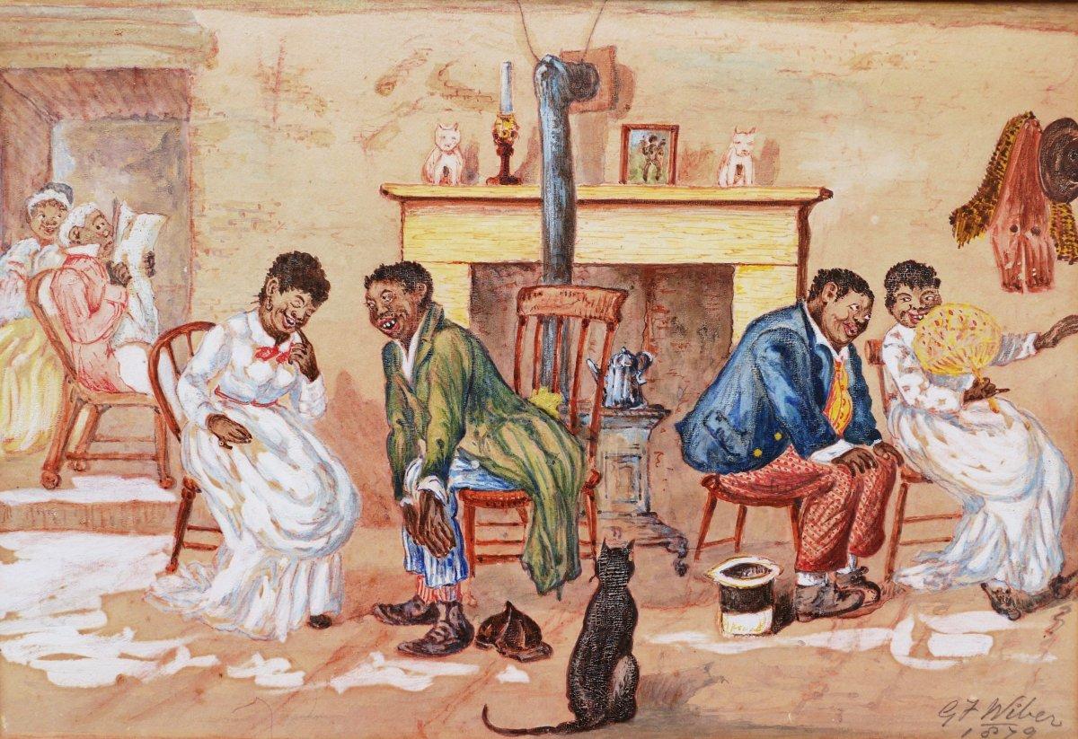 G. J. WIBER, Noirs américains dans un intérieur