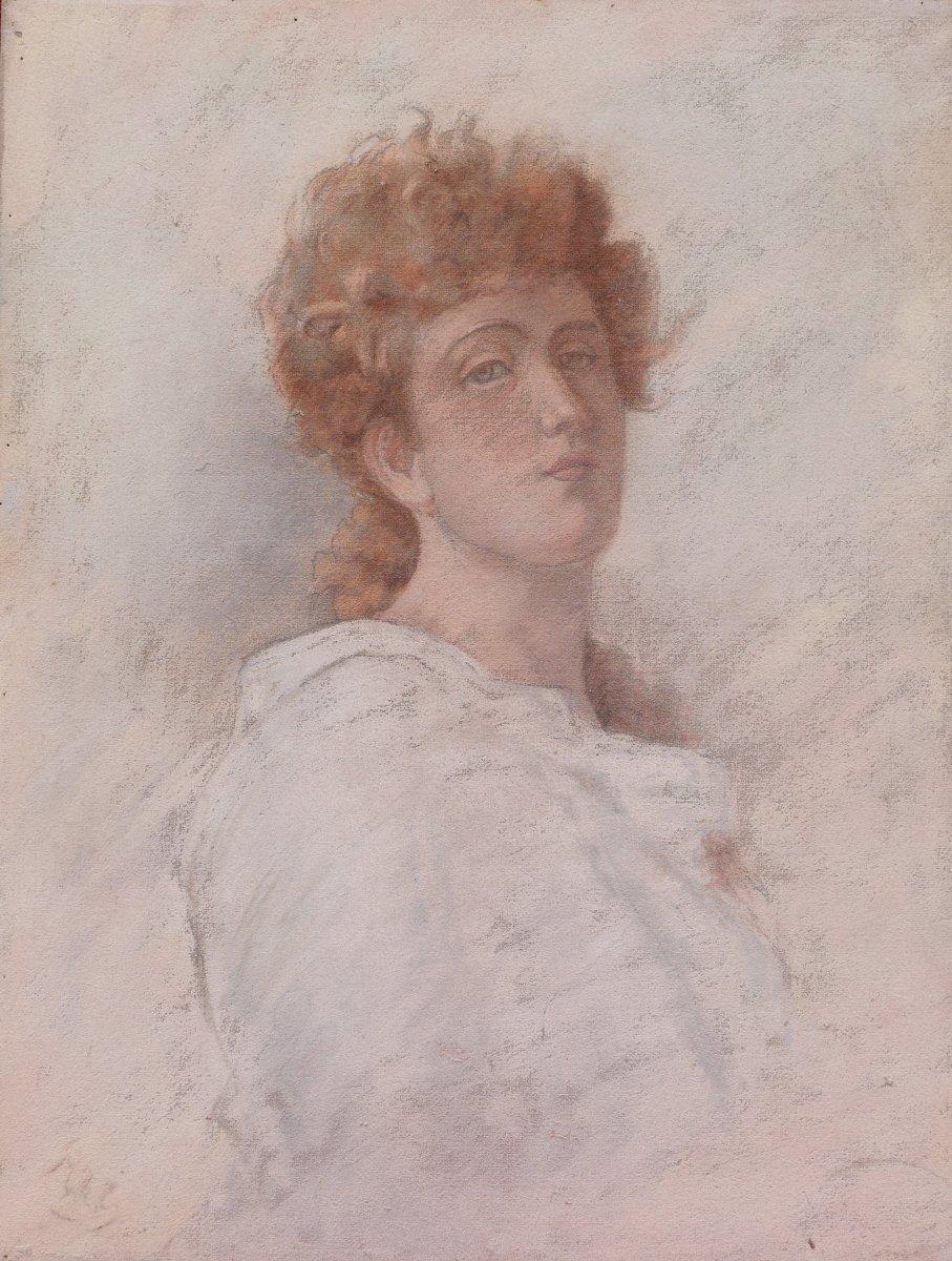 École FRANÇAISE symboliste circa 1880-1900, Portrait de jeune femme