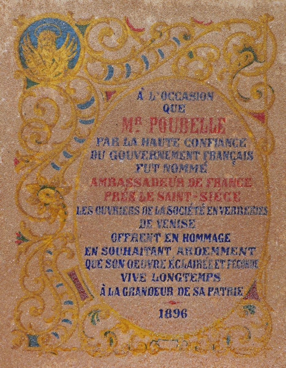 Tableau en perles de verre de Venise offert à M. Eugène-René POUBELLE