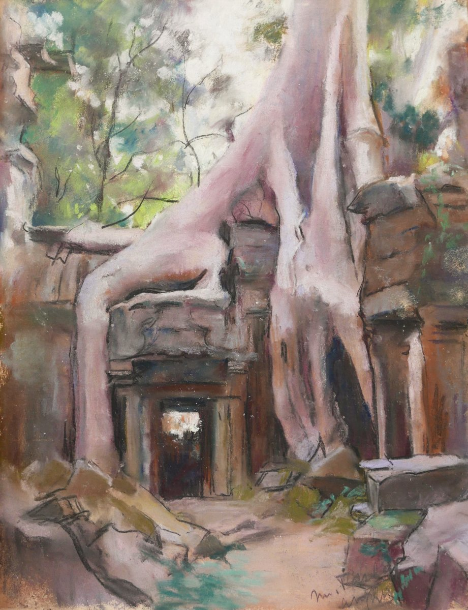 Marthe Pasteur (active Between 1915 And 1945), Two Landscapes Of Cambodia