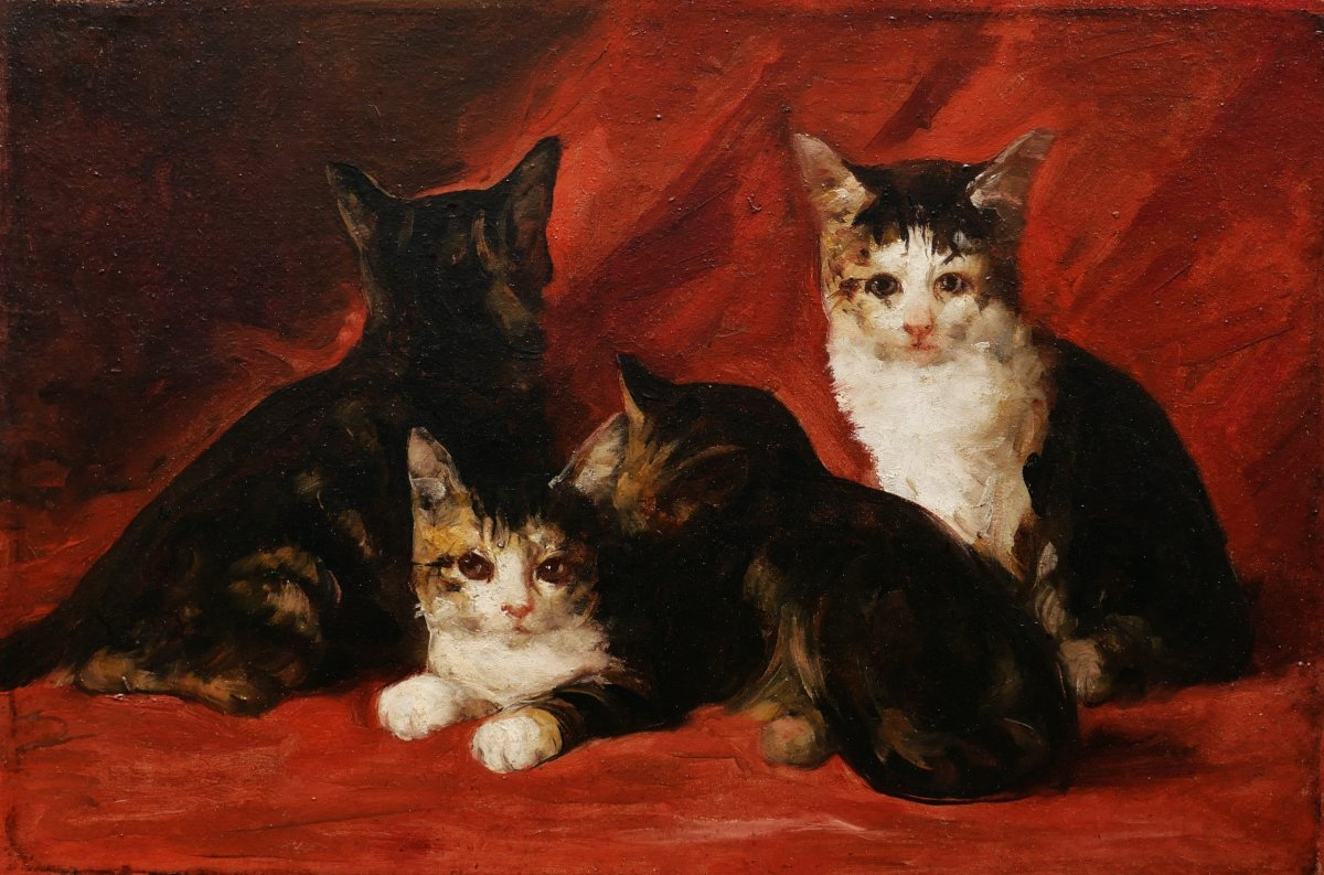 Attributed To Daniel Merlin, Kittens On A Red Sheet