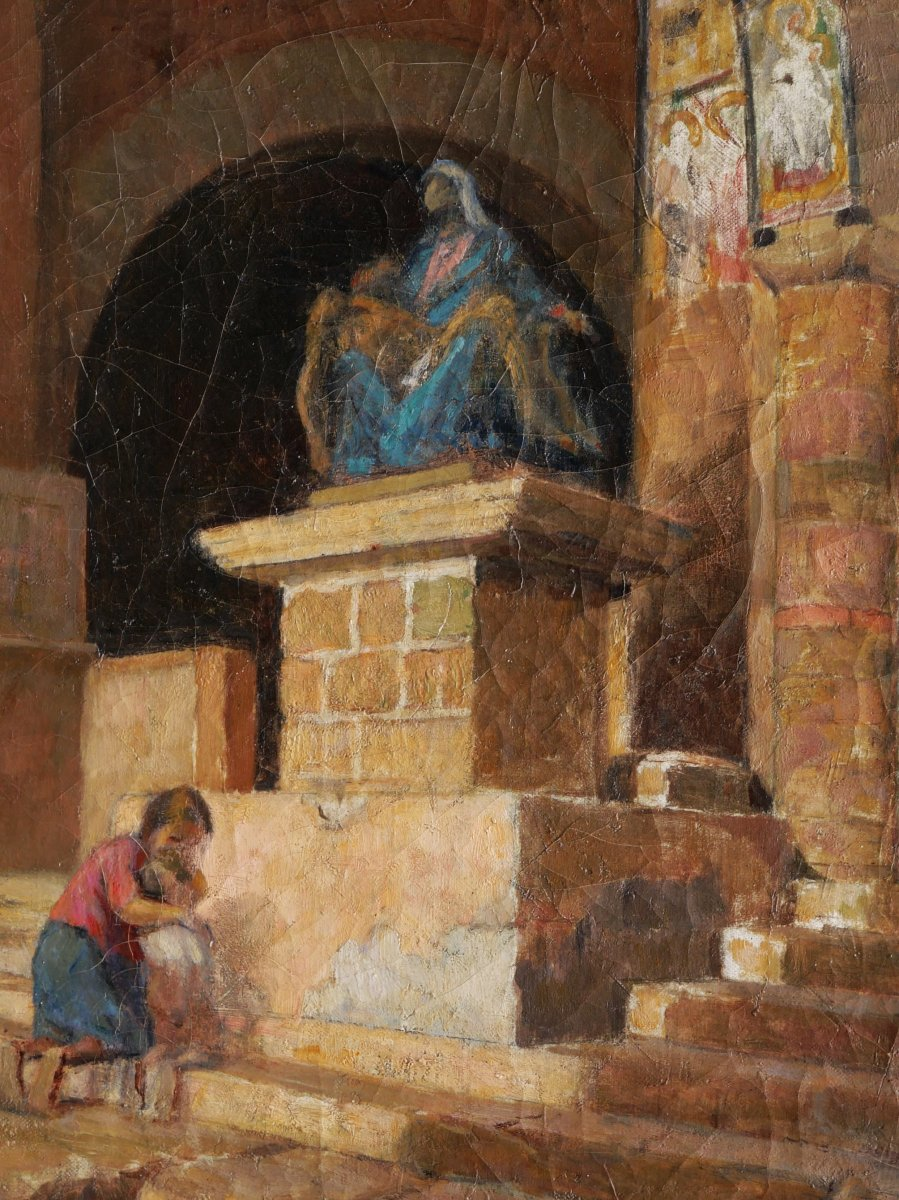 Marc Antoine Gustave LarÉe, Woman And Child Inside San Pietro In Toscanella Church-photo-2