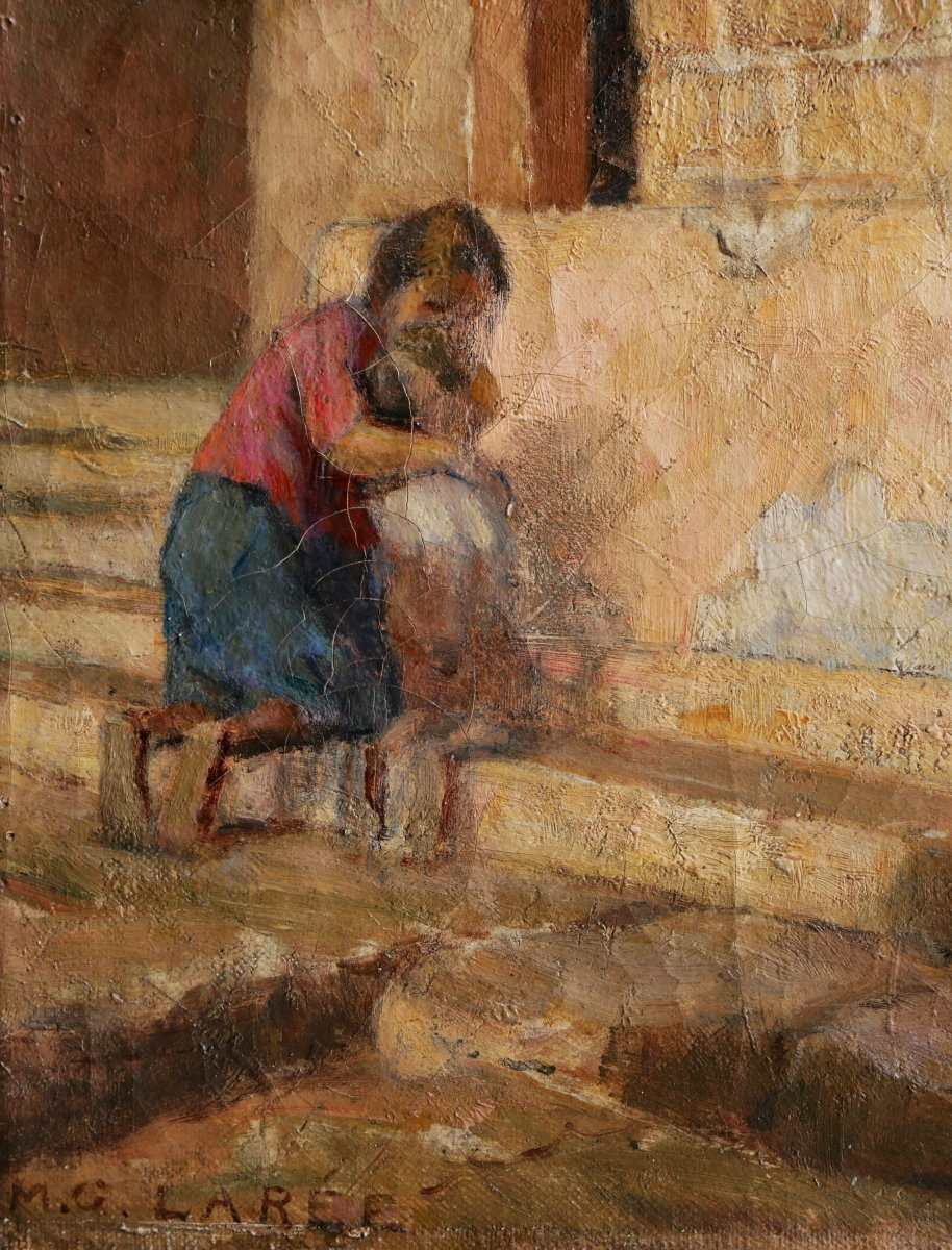 Marc Antoine Gustave LarÉe, Woman And Child Inside San Pietro In Toscanella Church-photo-3