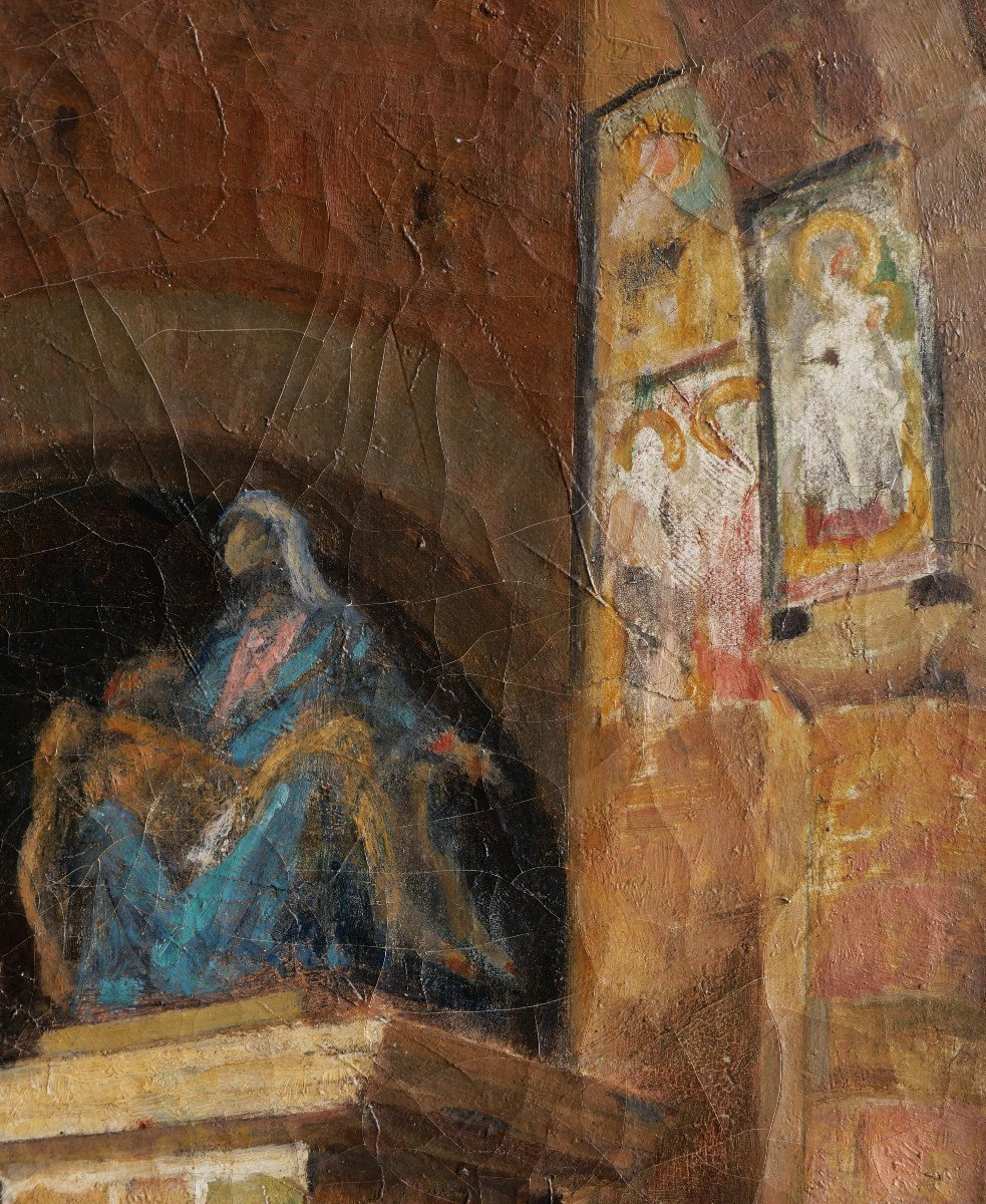 Marc Antoine Gustave LarÉe, Woman And Child Inside San Pietro In Toscanella Church-photo-4