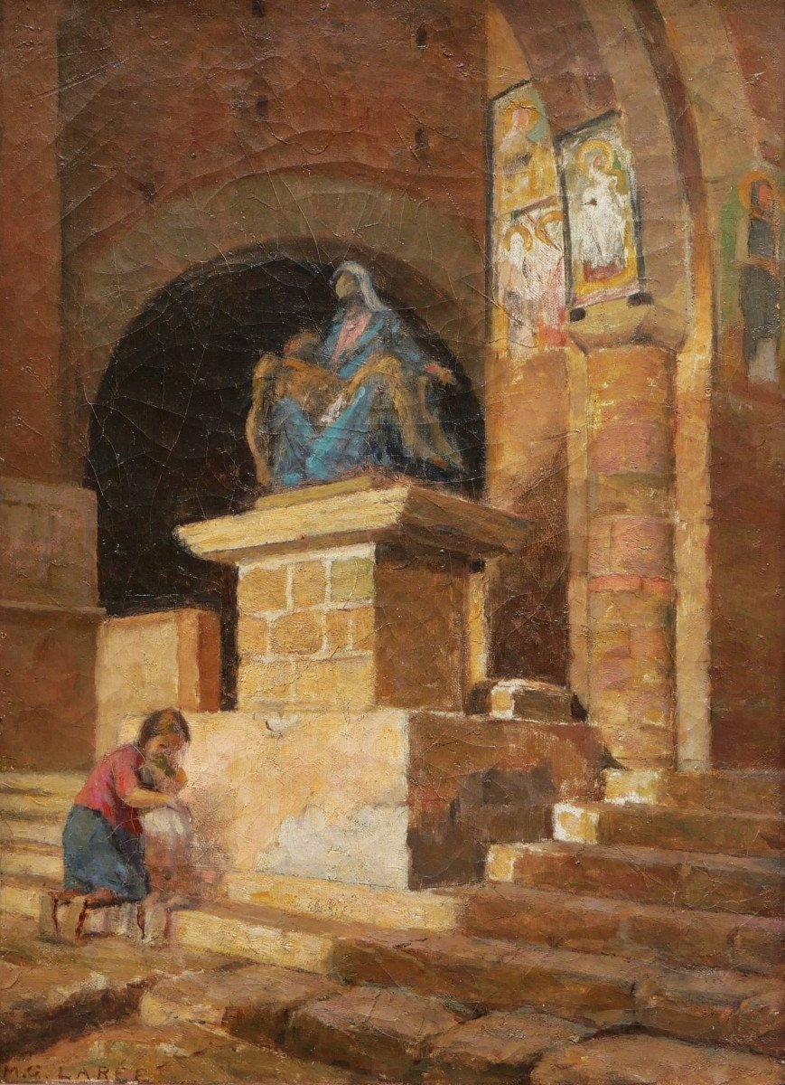 Marc Antoine Gustave LarÉe, Woman And Child Inside San Pietro In Toscanella Church