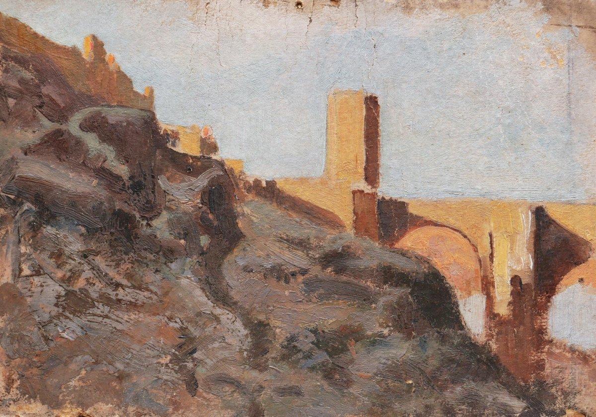 École FRANÇAISE ou ESPAGNOLE circa 1900, Le Pont San Martin à Tolède