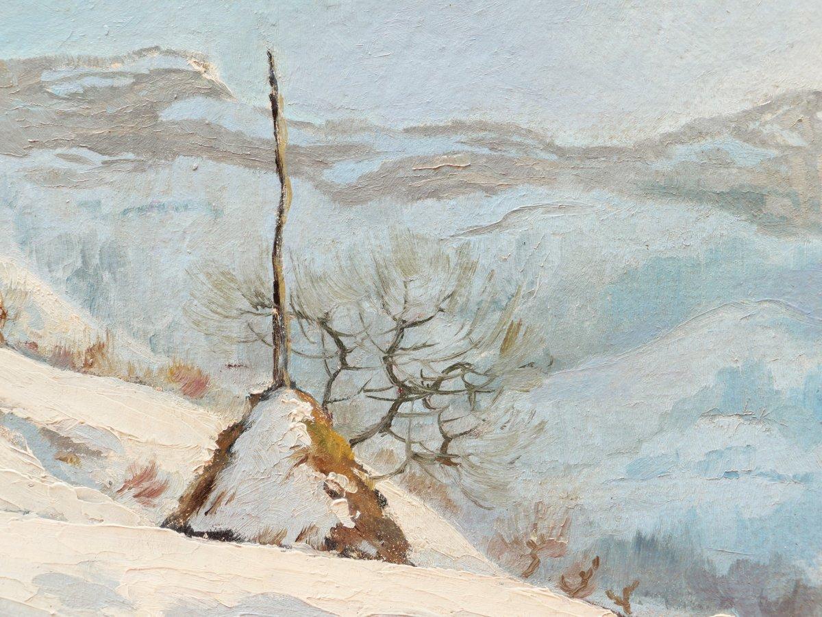 École FRANÇAISE de la fin du XIXème siècle, Malleval-en-Vercors en hiver sous la neige-photo-2