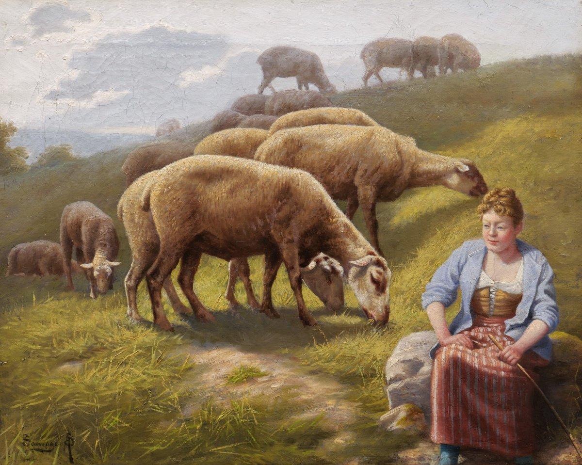 Arsène-symphorien Sauvage, Shepherdess And Sheep