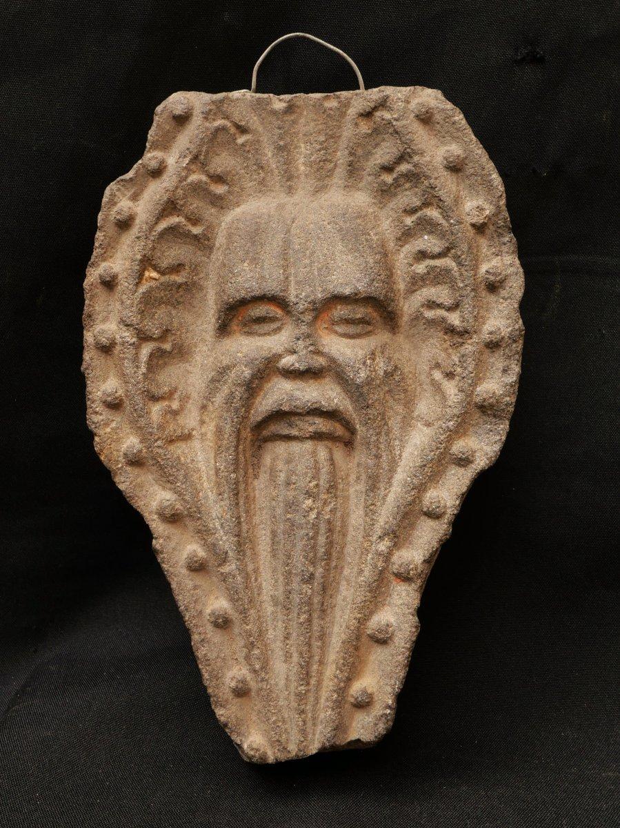 Bearded Man's Mascaron In Carved Kersantite Stone