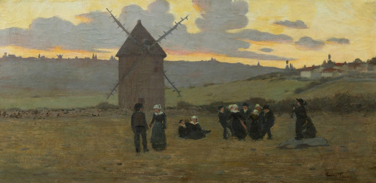 French School, Second Half Of The 19th Century, Breton Dance At Sunset