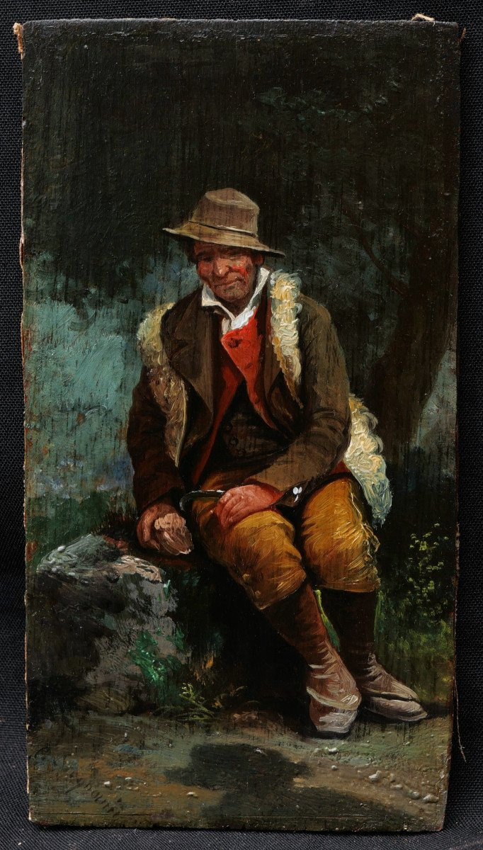 Attributed To Giuseppe Signorini, Italian Peasant Or Shepherd Sitting In The Forest-photo-4