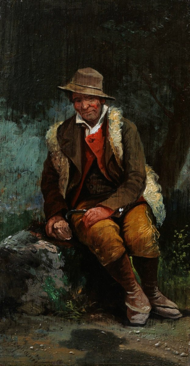 Attributed To Giuseppe Signorini, Italian Peasant Or Shepherd Sitting In The Forest