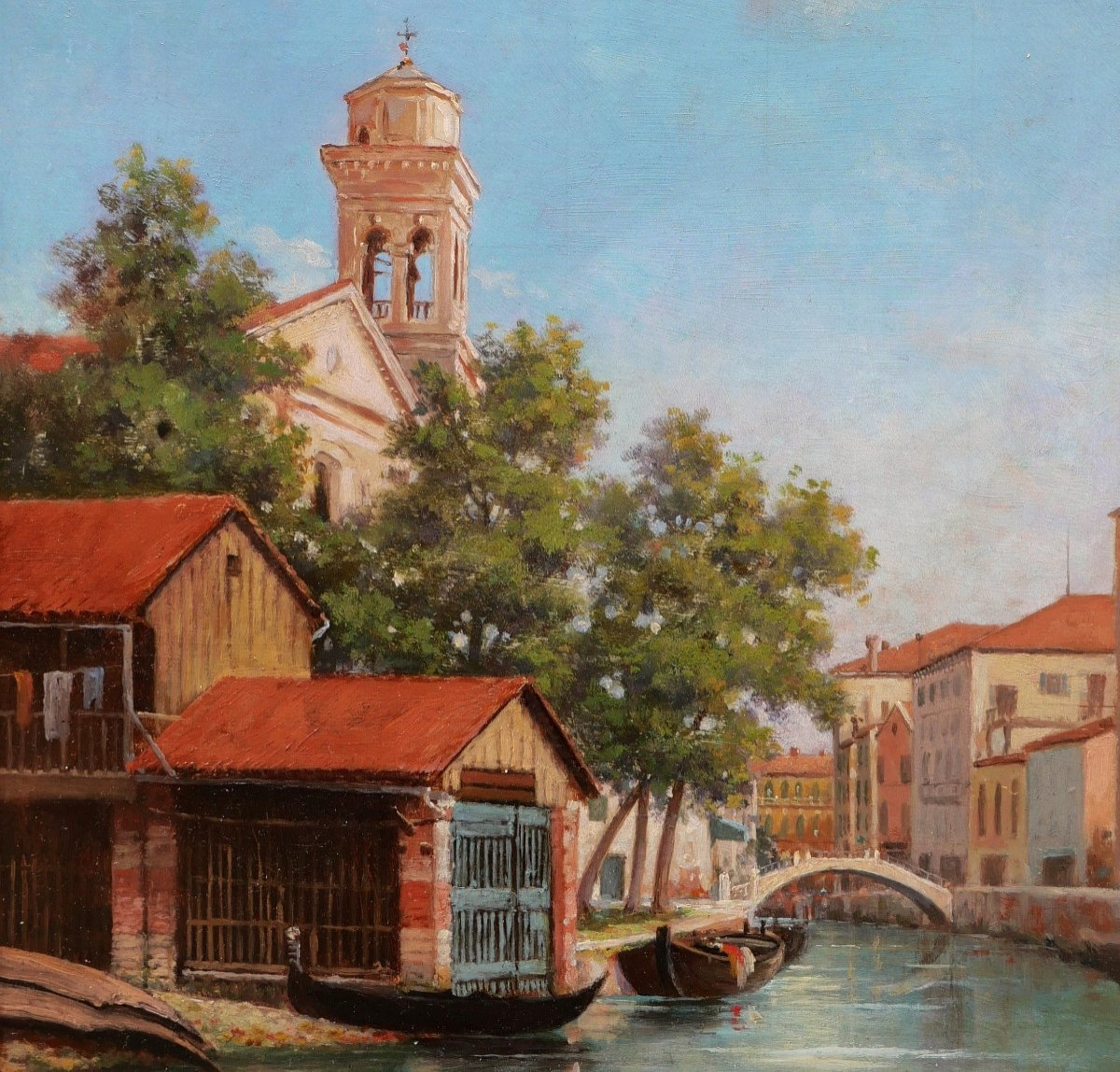 A. Or L. Mathieu, View Of A Canal In Venice With A Gondola Garage-photo-2