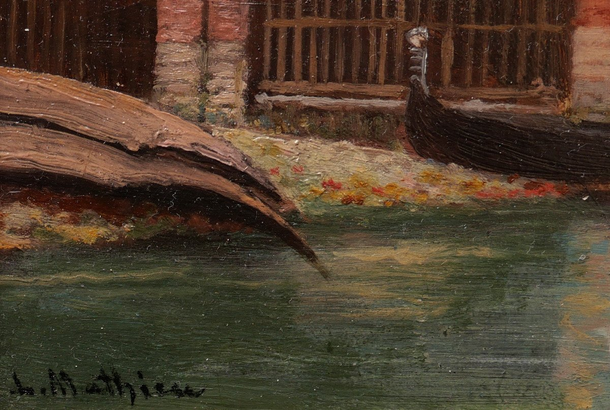 A. Or L. Mathieu, View Of A Canal In Venice With A Gondola Garage-photo-3