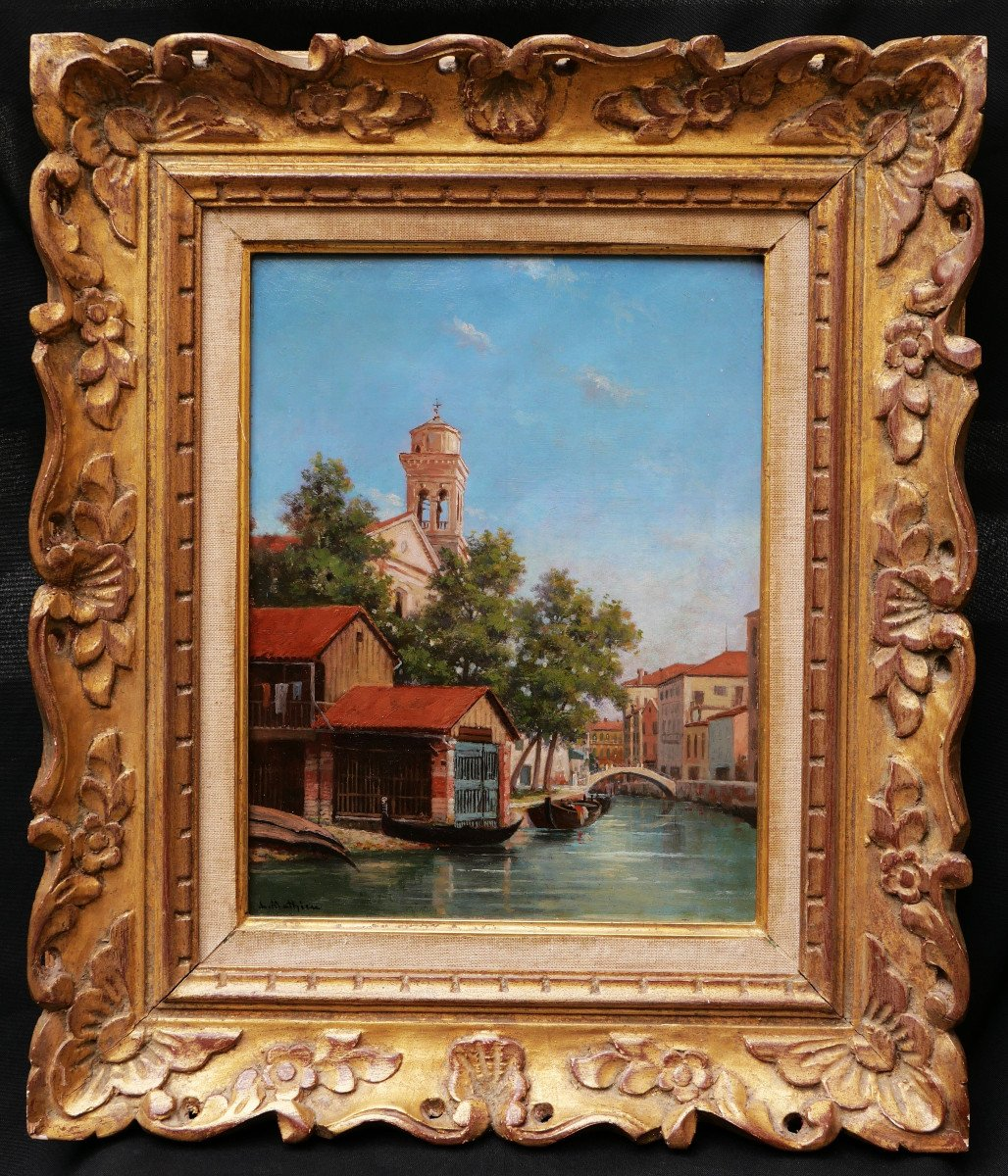 A. Or L. Mathieu, View Of A Canal In Venice With A Gondola Garage-photo-4
