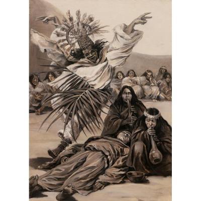 Attribué à Henri Théodore Malteste, Scène chamanique