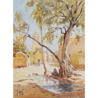 René LEVERD, Paysage à Biskra en Algérie