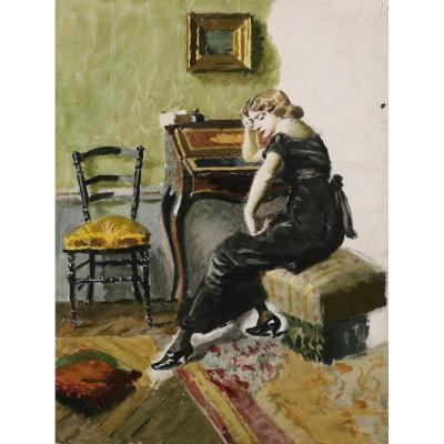 École FRANÇAISE circa 1880, Femme pensive dans un intérieur