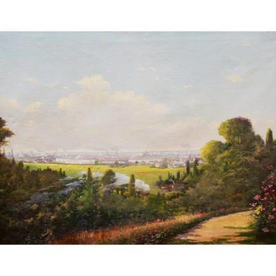 Maurice LARUE, Vue de Bordeaux depuis la Buttinière