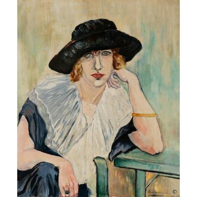 Henry KISTEMAECKERS, Portrait de femme au chapeau