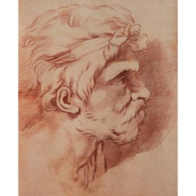 Hugues Taraval, Study Of A Man's Head In Profile