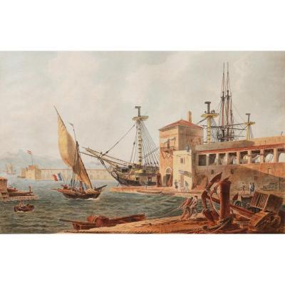 Jean-Jérôme BAUGEAN,  Vue animée du Port de Toulon