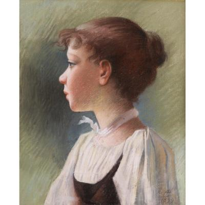 French School Circa 1900, Portrait Of Young Girl In Profile