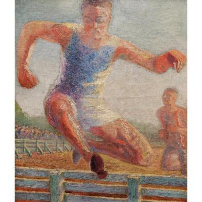 École FRANÇAISE début XXème siècle, Athlètes pratiquant une course de haies
