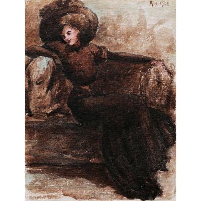 Attribué à Alfred LOMBARD, Femme assise sur un canapé