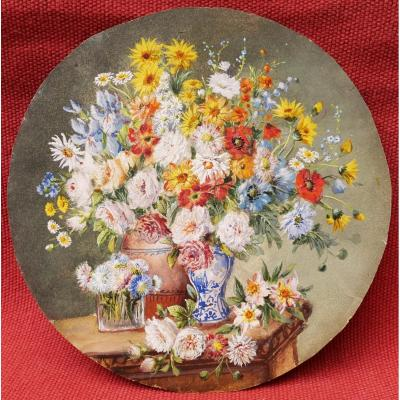 French School Circa 1900, Still Life With Flowers On A Ledger