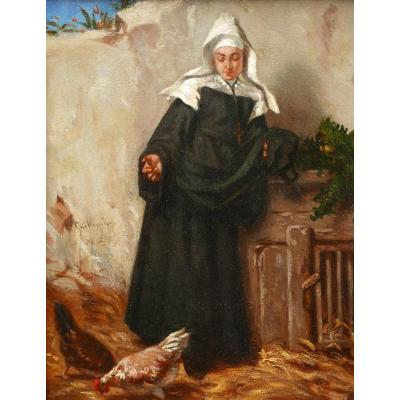 Alexandre Marie Guillemin, Nun Feeding The Hens