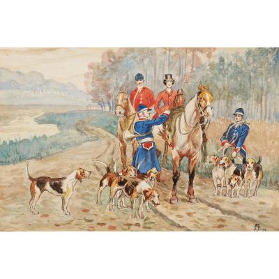 Attributed To Jean Achille Théodore Brail, Hunting Scenes With Hounds