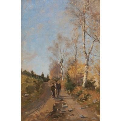 École FRANÇAISE ou BELGE circa 1900, Homme et son âne sur un chemin bordé de bouleaux