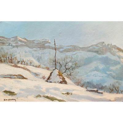 École FRANÇAISE de la fin du XIXème siècle, Malleval-en-Vercors en hiver sous la neige