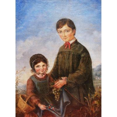 French School Circa 1830, Portrait Of A Brother And His Sister