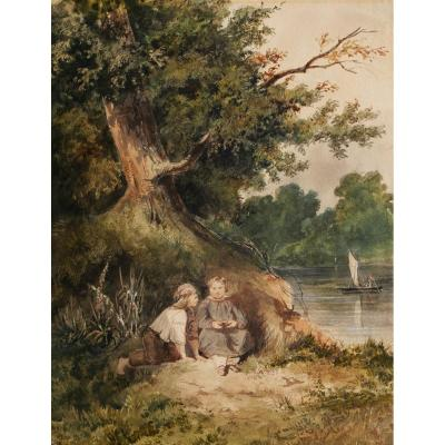 French Romantic School Circa 1830 - 1840, Two Children By The River